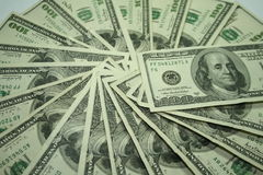 100 dollar bills. A fan of 100 dollar bills Royalty Free Stock Photo