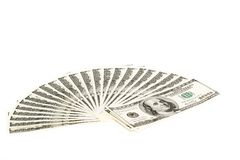 100 dollar bills fan stack. 100 dollar bills on a white background. Fan stack Royalty Free Stock Photo
