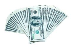 100 dollar bills fan stack. 100 dollar bills on a white background. Fan stack stock photos