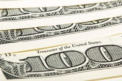 100 dollar bills macro Royalty Free Stock Images