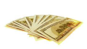 100 dollar bills spread out. 100 dollar bills spread isolated on white stock image