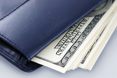 100 dollar bills in wallet Royalty Free Stock Photos