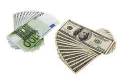100 dollar and euro banknotes Royalty Free Stock Image