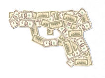 100 dollar gun. U.S. dollar banknotes made gun vector illustration