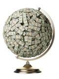100 dollari di globo su priorità bassa isolata bianca Fotografia Stock