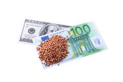 100 dollari e farine di grano saraceno Fotografia Stock