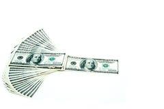 100 dollarräkningar fläktar bunten Arkivbild