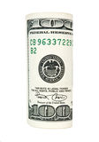 100 dollars. Rolled up 100 US dollars banknote isolated on white Royalty Free Stock Photos