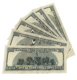 100 dollars. Closeup of hundred dollar bills isolated on white background Royalty Free Stock Image