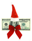 100 dollars banknote dressed in Santa's uniform Royalty Free Stock Image