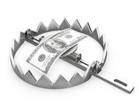 100 dollars in a bear trap. On white background Stock Photo