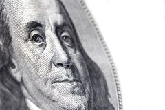 100 dollars benjamin franklin. Macro of benjamin franklin on a US $100 bill Stock Photos