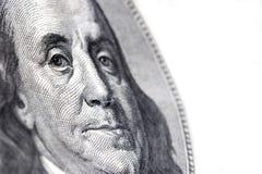 100 dollars benjamin franklin. Macro of benjamin franklin on a US $100 bill stock photos