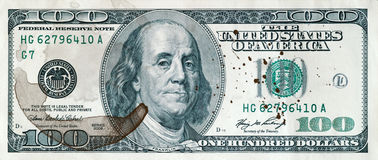 100 dollars with Cofee stain Stock Photos