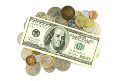 100 dollars and coins Stock Images