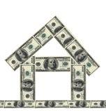 100 dollars money house. On white background royalty free stock photography