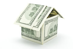 100 dollars money house. On white background Stock Images