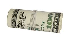 100 dollars roll isolated on white. Background with clipping path Stock Images