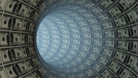 100 Dollars tunnel fly through, loop, stock footage stock video footage