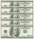 100 dollarsbankbiljetten Stock Fotografie