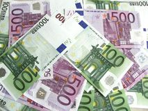 100 e 500 euro banknotes-2 Fotografia Stock