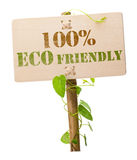 100% eco friendly green sign Stock Image