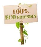 100% eco vriendschappelijk groen teken Stock Afbeelding