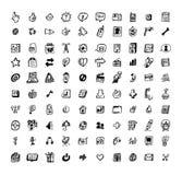 100 elementu nakreślenia sieć Ilustracja Wektor
