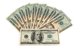 $100 en $20 bankbiljetten Stock Foto's