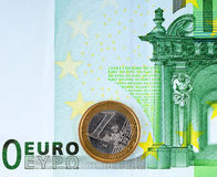 100 euro and  1 euro. 100 euro banknote and coin of 1 euro Royalty Free Stock Image