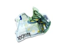 100 Euro. Spending 100 Euro in no time royalty free stock images