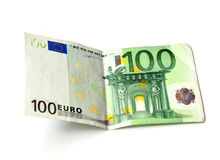 100 euro. Crumpled one hundred euro banknote Royalty Free Stock Images