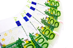 100 Euro. Banknotes of 100 euro isolated Royalty Free Stock Images
