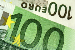100 euro. Close-up of 100 euro banknote Royalty Free Stock Image