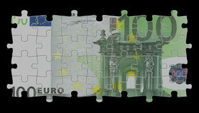 100 euro. Render of 500 euro note like puzzle Royalty Free Stock Photos