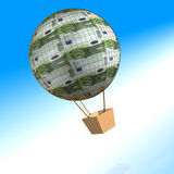 100 Euro air balloon. 3d image of a hundred euro air balloon on the sea Royalty Free Stock Image