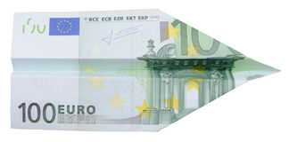 100 euro airplane Royalty Free Stock Image