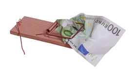 100 euro bank note in mouse trap Royalty Free Stock Images