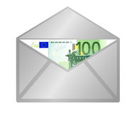100 Euro banknote. In open envelope, isolated on white background vector illustration