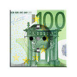 100 Euro banknote. Folded 100 Euro banknote isolated on white background Stock Photo