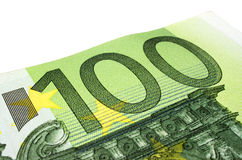 100 euro banknote. Detail of a 100 Euro banknote Royalty Free Stock Photos