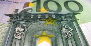 100 Euro banknote. Detail of 100 euro banknote Royalty Free Stock Photo