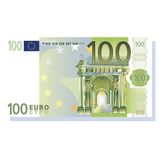 100 euro banknote vector. Illustration isolated over white background Royalty Free Stock Photo