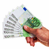 100 Euro Banknotes Hold By Right Male Hand. Stock Image