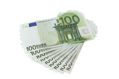 100 euro billets de banque, d'isolement Images stock