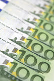 100-Euro bills. In a row Royalty Free Stock Photos