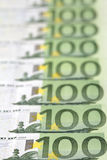100-Euro bills. In a row Royalty Free Stock Photography