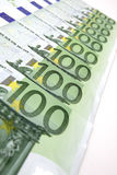 100-Euro bills. In a row Royalty Free Stock Image