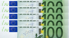 100 Euro bills Royalty Free Stock Images