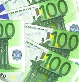 100 euro details. Background details hundred euro banknotes Stock Photos